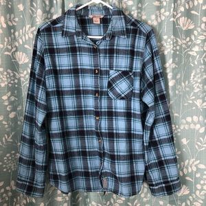 Blue Plaid Flannel Top